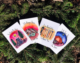 Share the Love Card Pack | Set of 4 | Blank Inside | Friendship | Anniversary | Love | Just Because | Nature | Wilderness | Camping | Hiking