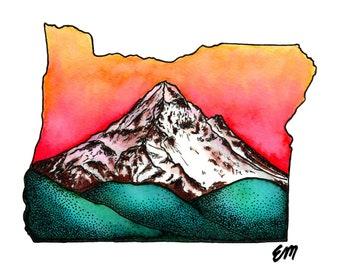 Mt. Hood at Dawn | Matte Paper Print | Nature Wall Decor | Cascades | Wilderness | Mountain | Hike | Camp | Oregon