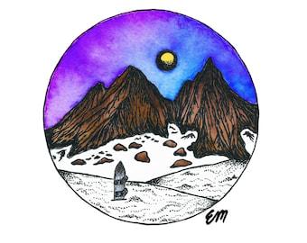 Broken Top Moonrise | Matte Paper Print | Nature Wall Decor | Cascades | Wilderness | Mountain | Hike | Camp |Oregon