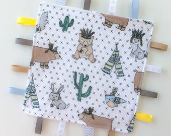 TeePee Sensory Toy, Tag Toy, Sensory Crinkle Toy, Tag Blanket, Sensory Blanket, Baby Tag Toy, Crinkle Tag Toy, Baby Development Toy