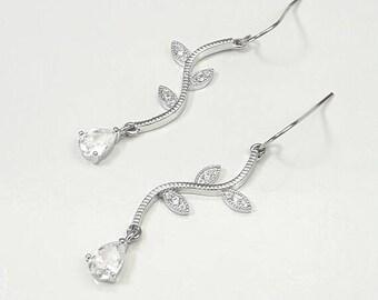 Bridal earrings CZ, Rhodium earrings, wedding cubic zirconia earrings, Crystal jewelry, Square earrings, Bridal earrings, Bride ear BJ010