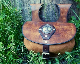 Fantasy Role Playing Larp SCA Elf Bag Leather Belt Bag Leather Beef with Ivy Leaf Medieval Belt Bag Boho,Ivy Hippie Bag