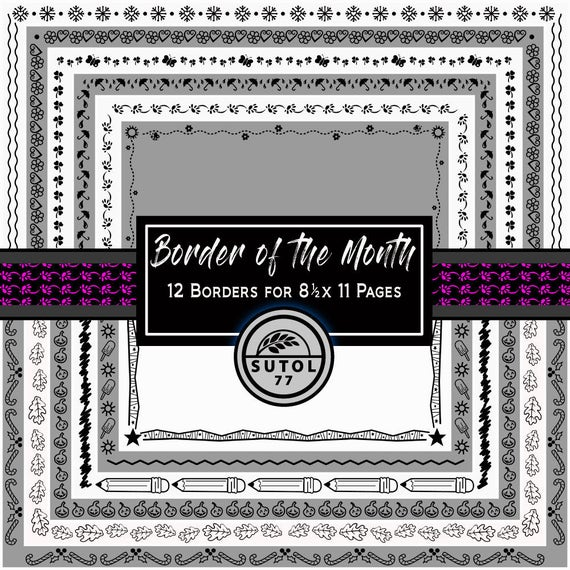 Border Of The Month 12 Png Page Borders Designed For 8 12 X Etsy