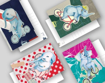 Elephant On Bike Postcard Series