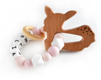 Personalized Girl silicone ring | Custom Silicone  | Wooden Animal Ring | Fawn Deer Kelia