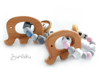 Personalized silicone | Customized Silicone | with Wooden Animal Ring |