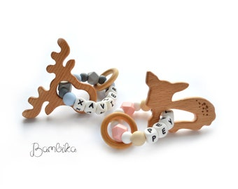 Personalized silicone | Customized Silicone | with Wooden Animal Ring | Deer Fawn