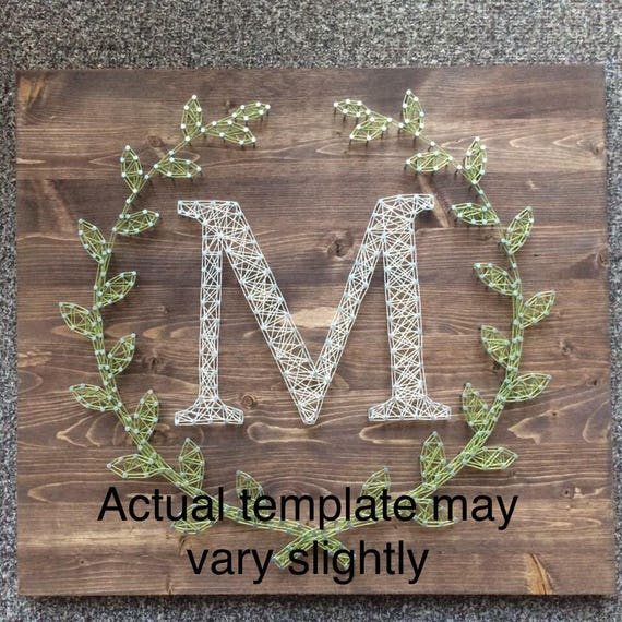 letter f laurel leaf monogram string art template etsy
