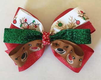 """5"""" Reindeer Stacked Hairbow"""