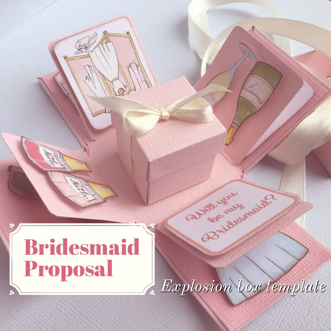 Bridesmaid Proposal Explosion Box Template Instant