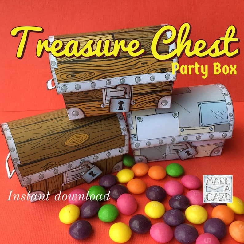 photo about Treasure Chest Template Printable named Treasure Upper body - Celebration Box template - prepared for guidebook slicing and Silhouette Cameo