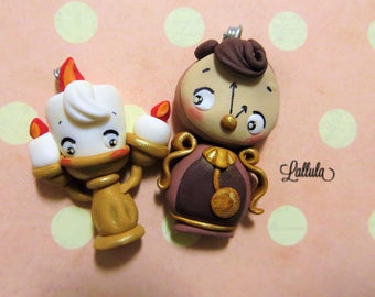 Lumiere and Cogsworth/pendant/Disney Fimo