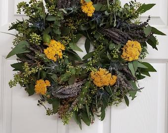 Eucalyptus, Lavender, Thistle, and Yarrow Wreath