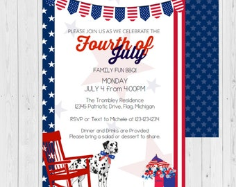 fourth of july invite fourth of july invitations bbq fourth etsy