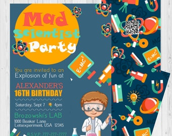 science party invite etsy
