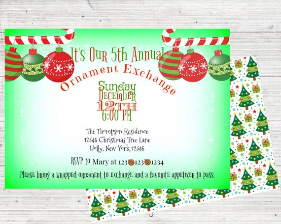 ornament exchange ornament exchange invitation christmas etsy