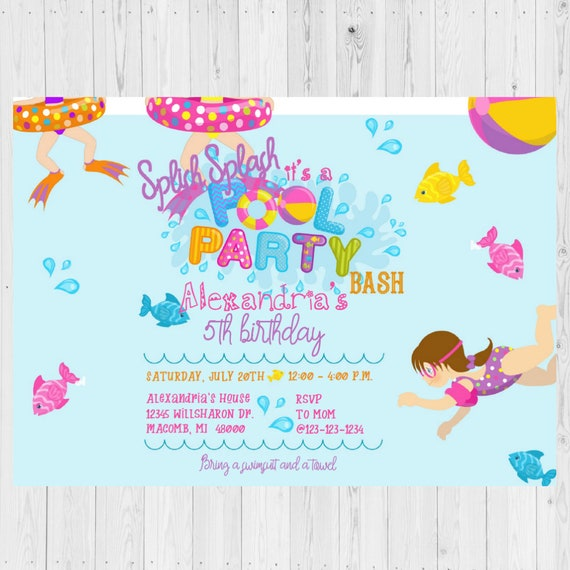Pool Party Invitations Invite Splish Splash