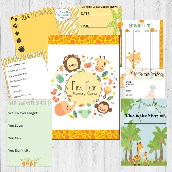 Baby Milestone Cards Journal Shower Ideas Safari Theme Gifts Printable