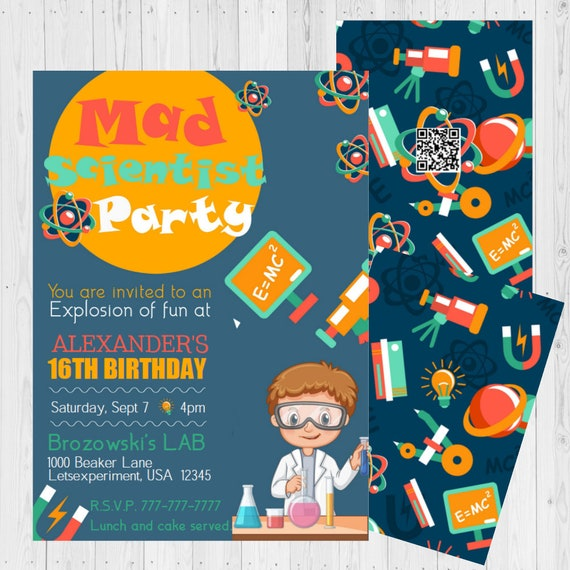 Birthday Invitations Kids Science Experiment Science Etsy
