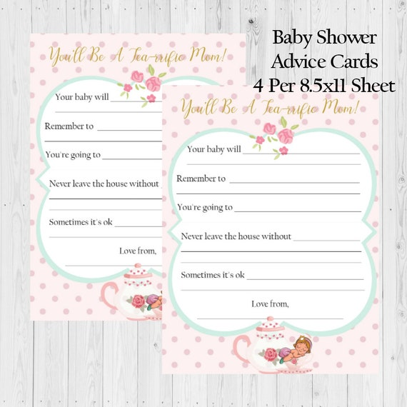 Baby Shower Advice Cards Baby Shower Advice Tea Party Baby