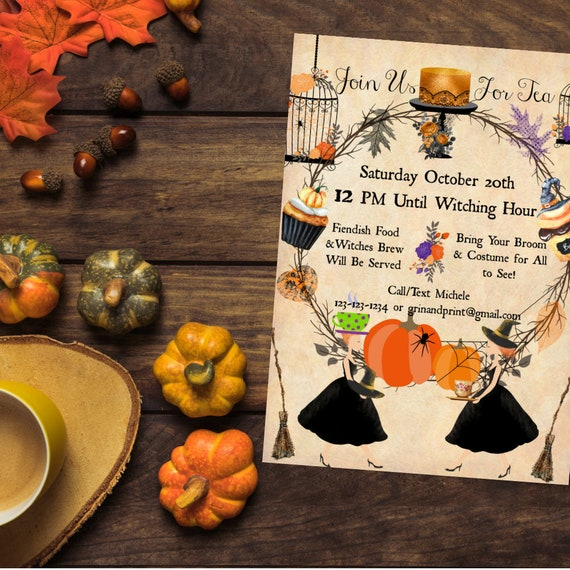 Witches Tea Invitations Party Vintage