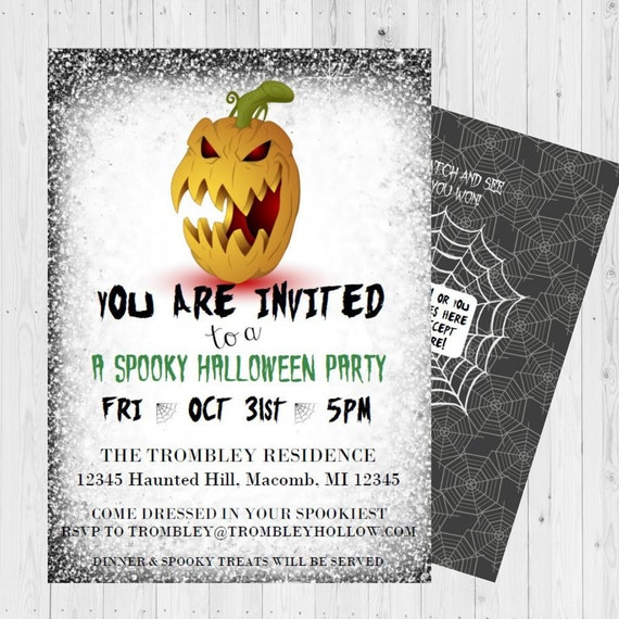 Halloween Invitations Party Birthday Scratch Off Adult