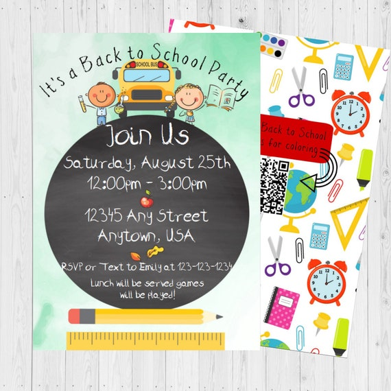 Back To School Invite Back To School Party End Of Summer Party