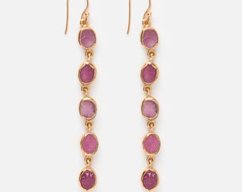 Ruby earrings - Raw Ruby earrings - Rough Ruby earrings - Gemstone earrings - Raw Ruby - Rough Ruby - July Birthstone - Birthstone Earrings