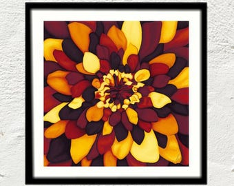 Fall flower painting art reproduction print