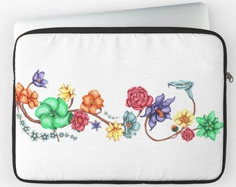 "Multicolored flowers on white 12 ""13"" 15 ""laptop computer case"