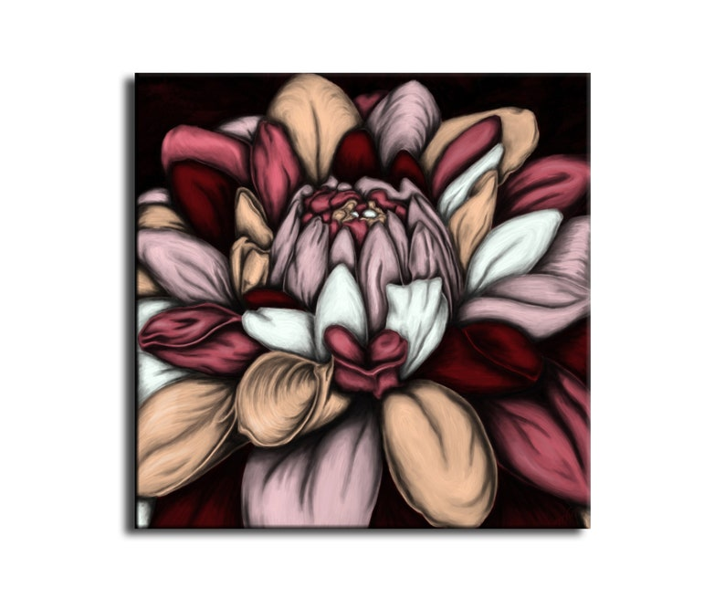 Burgundy beige flower blue  flower art painting  square image 0