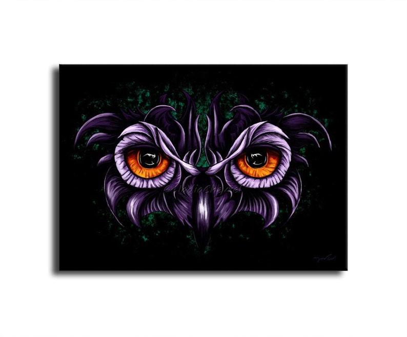 Owl Eyes  Owl Look Table  Digital Painting Printed on Canvas image 0