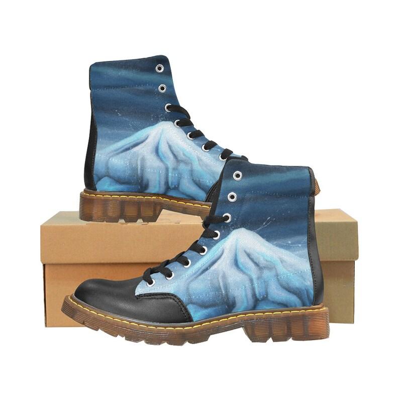 Bottes iceberg Motif bleu glacé imprimé sur Chaussures montantes Boots homme ou femme Chaussures vegan cuir synthétique LIVRAISON GRATUITE