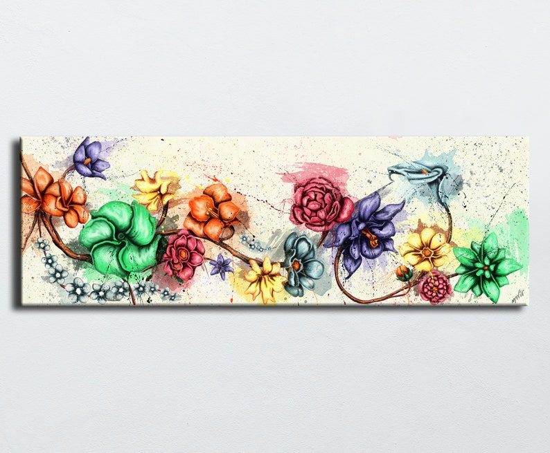 Multicolored flowers ecru background  branch  painting image 0