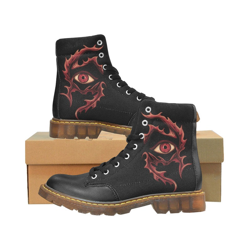 free shipping boots with black eyelets boots men Boots red tribal eye print Art rock boots pattern flames eye print