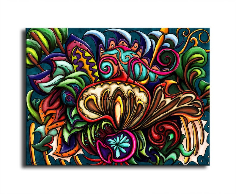 Colorful chameleon painting  Psychedelic mushroom painting  image 0