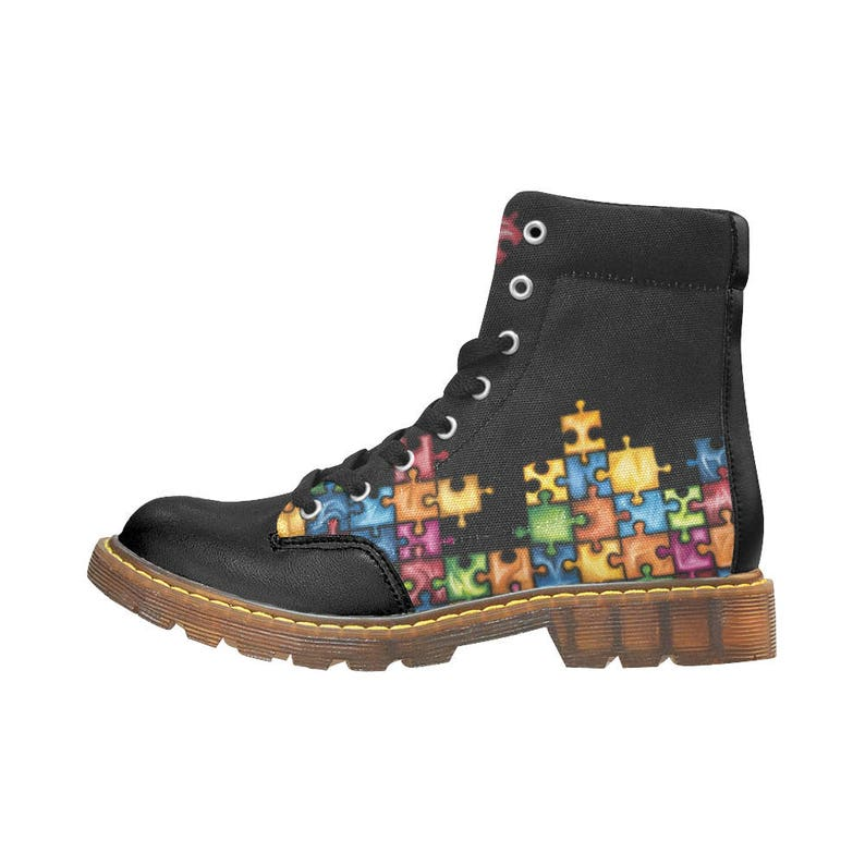 6a2899b604 Rainbow puzzle boots-digital art print on black women's boots-multicolored  boots-original shoes free shipping