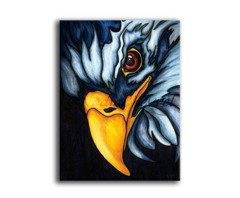 digital painting printed on canvas Bald eagle painting