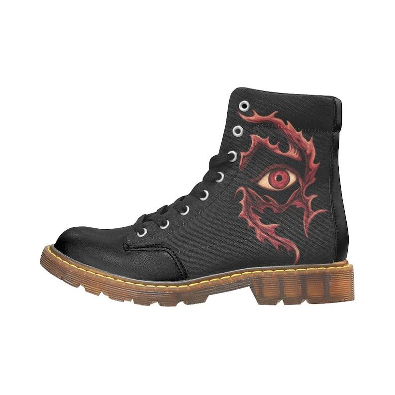 Boots oeil tribal rouge imprimé Art boots rock motif flammes oeil imprimé Bottes à oeillets noires Bottes homme LIVRAISON GRATUITE