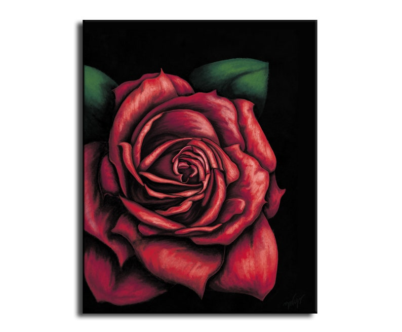 Rose red and black gift red rose digital paint  Web print image 0
