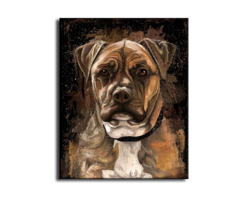American Staff Dog Portrait Animal Painting Printed on Canvas image 0