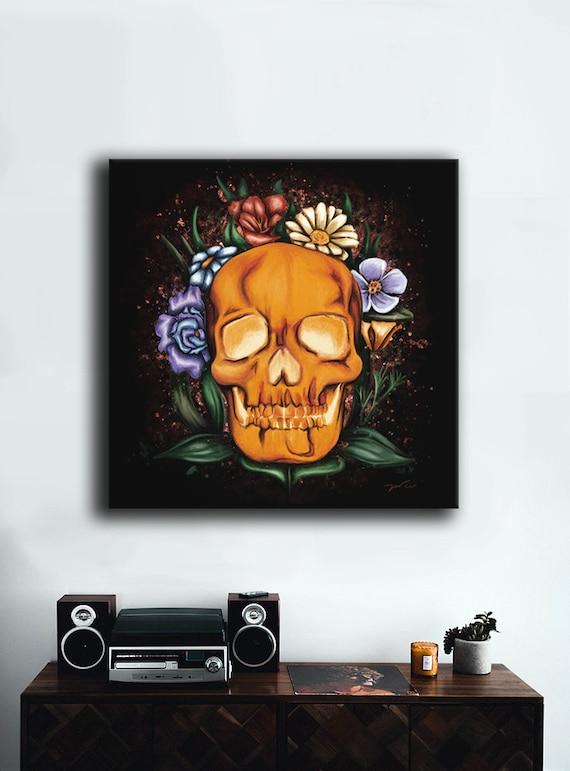 Painting Skull And Flowers Digital Art Printed On Canvas Etsy