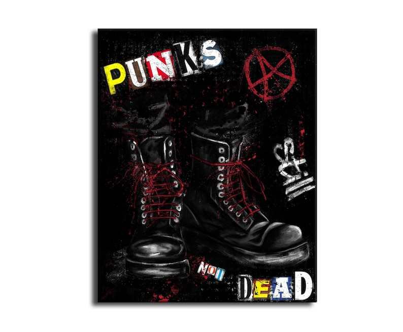 bd2cd8dbc68 Punk's not dead still painting - art boots red laces - red and black art  punk pop - punk digital painting on canvas