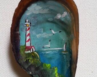 Painted mussel magnet, Lighthouse painting magnet, Shell magnet, Fridge magnets, Design magnet, Ocean art, Magnets, Hand painted magnet