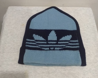 e67adf08 Vintage Adidas beanie hat Blue /used made in Japan