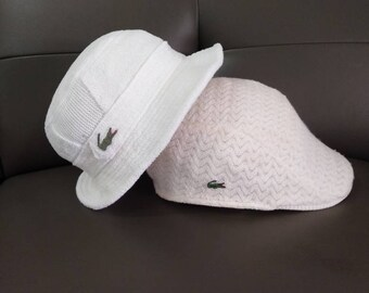 5bc3a9ba9 Combo 2psc Authentic Lacoste Bucket Hat And Flatcap White Color