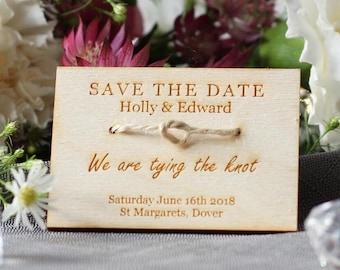 Save The Date - Tying The Knot - Personalised Wood Invite - Wedding Announcement - Rustic Wedding