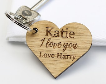 I Love You Personalised Wooden Heart Keyring