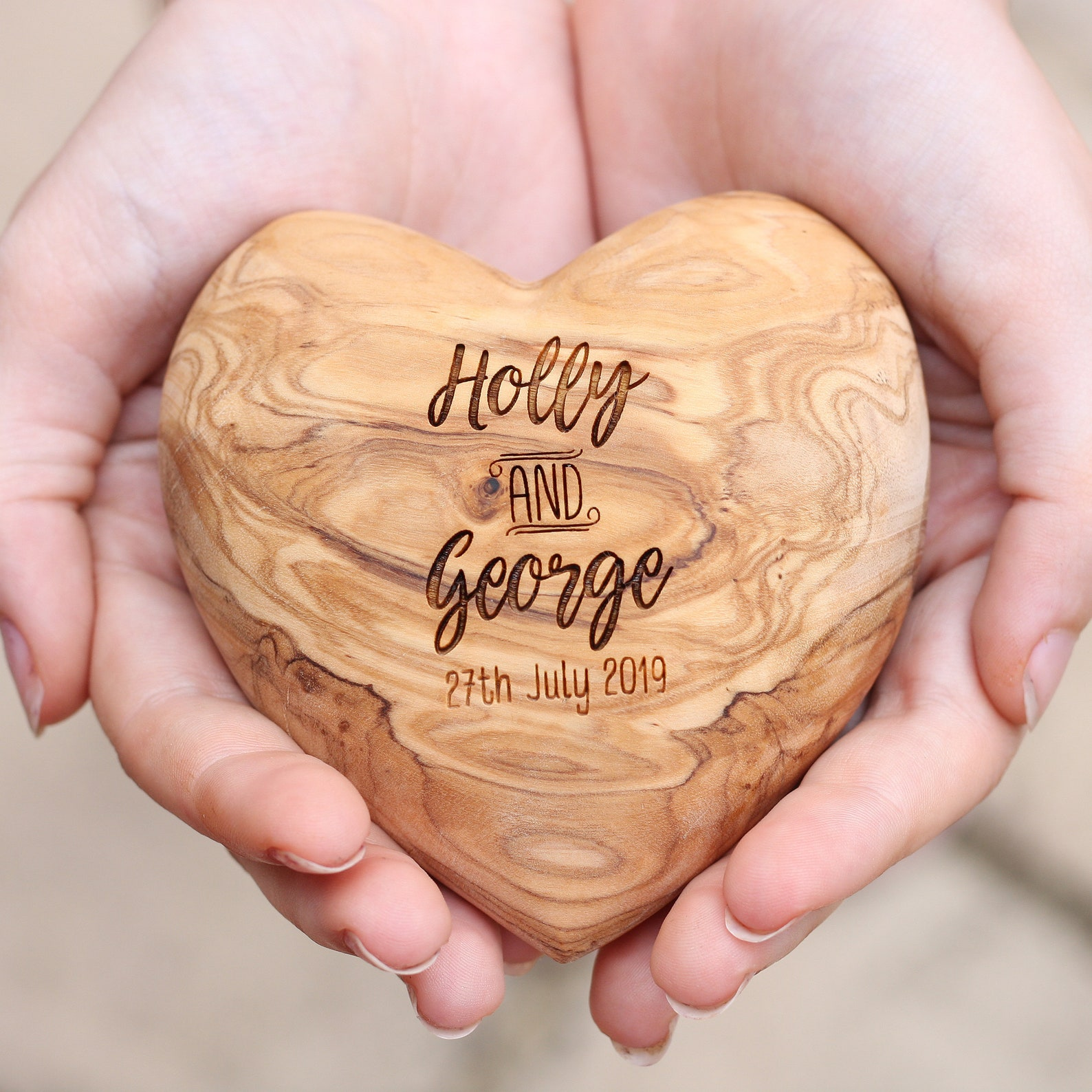 Engraved olive wood heart