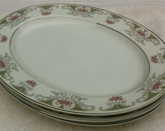 #4144 made in Japan White with pink roses gray leaves and silver lined. Vintage Aberon Translucent fine china
